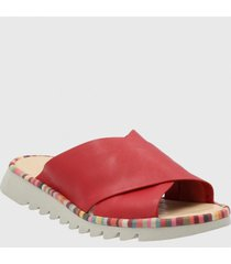 sandalia cuero caris rojo hush puppies