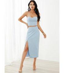 conjunto de falda y top con dobladillo con abertura y diseño sin espalda con espagueti yoins