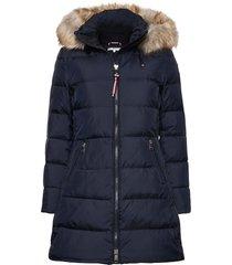 cl baffle down coat with fur gevoerde lange jas blauw tommy hilfiger