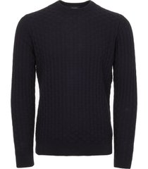calvin klein navy textured cotton wool jumper k10k101394