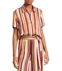 frame women's mini striped short-sleeve shirt - sunrise multi - size xs