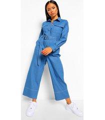 denim jumpsuit met contrasterende stiksels en ceintuur, mid blue