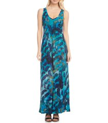 women's karen kane tie dye burnout sleeveless maxi dress