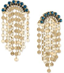 rachel rachel roy gold-tone blue crystal & disc shaky drop earrings
