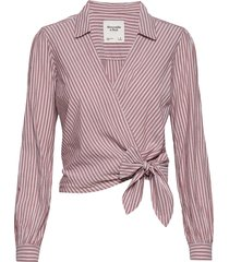preppy wrap shirt långärmad skjorta rosa abercrombie & fitch