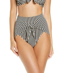 norma kamali high waist tie front bikini bottoms, size small in ivy/black stripe at nordstrom
