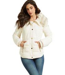 chaqueta tawni faux fur hood jacket blanco guess