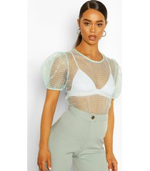 puff sleeve flannel organza mesh top, mint