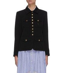 flap pocket spread collar crepe jacket