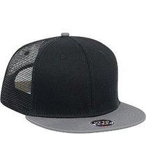 "otto superior cotton twill round flat visor ""otto snap"" six panel pro style mesh"
