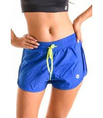 shorts mama latina duplo action azul - azul - feminino - poliamida - dafiti