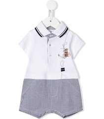 lapin house short sleeve sailor bear romper - white