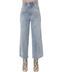 dsquared2 light blue high waist wide leg cropped jeans