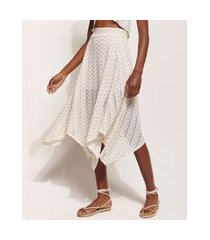 saia de tricô feminina hype beachwear midi assimétrica estampada chevron com lurex bege claro