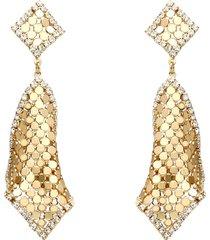 orecchini pendenti con rombi e strass in metallo dorato per donna