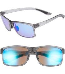 men's maui jim pokowai arch 58mm polarized sunglasses - translucent matte grey/ blue