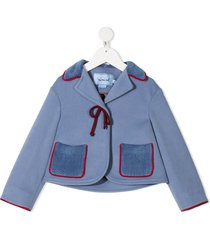 mi mi sol front tie fitted jacket - blue