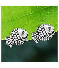 sterling silver stud earrings, 'joyful fish' (thailand)