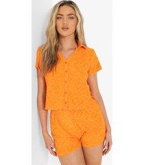 ofcl korte badstoffen blouse met reliëf, orange