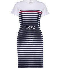 balou regular c-nk dress ss knälång klänning blå tommy hilfiger
