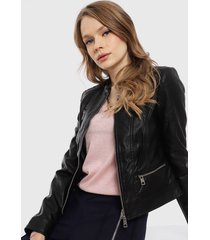 chaqueta vero moda favo short coated negro - calce ajustado