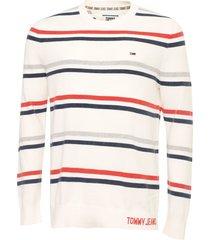 suéter tommy jeans tricot listrado branco/azul-marinho - kanui