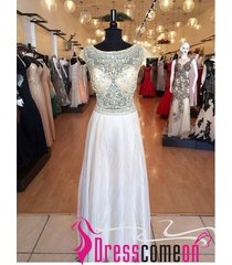 a line scoop crystals white floor length long prom dress chiffon evening gown