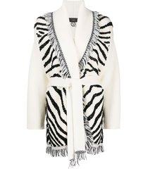 alanui glam zebra embroidered cardigan - white