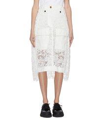 side fold lace mix long skirt