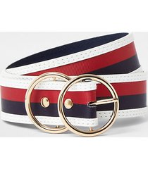 river island womens navy double ring stripe belt