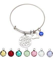 cuore delle donne cuore regalo di braccialetto dell'acciaio inossidabile del pendente di birthstone variopinto per la mamma