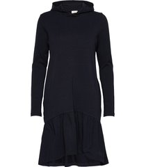 kadana linda hoodie dress knälång klänning blå kaffe