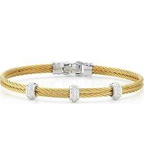 18k white gold, goldtone stainless steel & diamond cable bangle bracelet
