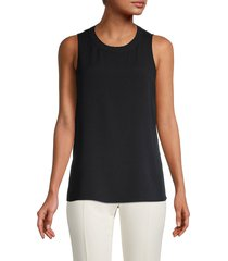 vince women's ribbed crewneck silk top - optic white - size xxs