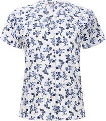 blusa flores azules color azul, talla 12