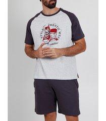pyjama's / nachthemden admas for men pyjama kort t-shirt authentiek draag grijs adma's