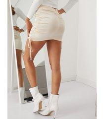 yoins minifalda de satén con cordón
