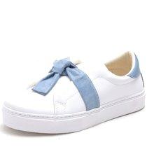 slip on iate sapatãªnis sapatilha feminina urbano sem cadarã§o confort - azul/branco - feminino - sintã©tico - dafiti