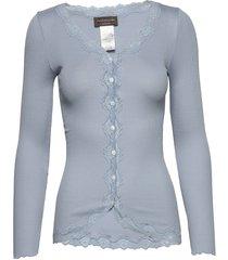 silk cardigan regular ls w/rev vint gebreide trui cardigan blauw rosemunde