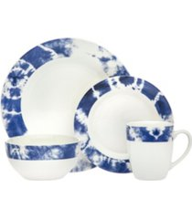 godinger tie dye blue 16-pc dinnerware set