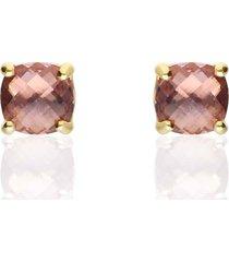 orecchini a lobo placcato oro con pietra rosa per donna