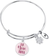 """unwritten """"be youtiful, be your own kind of beautiful"""" bangle bracelet silver plated charms"""