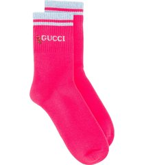 gucci lurex trim socks - pink