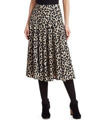 leopard-print wool midi skirt