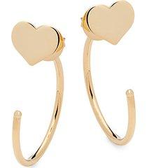 14k yellow gold heart half-hoop earrings