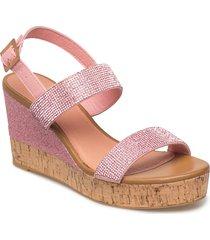 womens sandal sandalette med klack espadrilles rosa ilse jacobsen