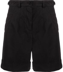 aspesi high-rise wide-leg shorts - black