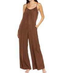 women's socialite washable satin jumpsuit, size x-large - brown