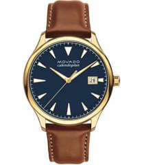 men's movado heritage calendoplan leather strap watch, 42mm
