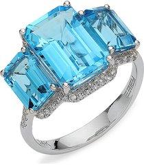 effy 14k white gold, blue topaz & diamond three-stone ring/size 7 - size 7
